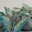 Butterflies with Christmas Balls — Stock Photo