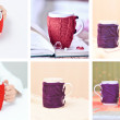 Knitted cups indoors — Stock Photo