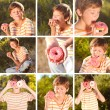 Collage of nine images with happy boy and donut — Stock Photo
