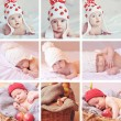 Collage of nine photos with cute babies in knitting hats — Stock Photo