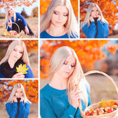 Collage of six omages with attractive girl outdoors — Stock Photo