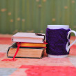 Mug with violet knitted sweater  with stack of books — Stock Photo