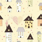 Seamless pattern of houses in vector — Stock Vector