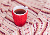 Knitting cup with tea — Stok fotoğraf