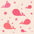Cute pink whales in vector — Stock Vector