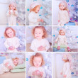 Cute baby girl with christmas tree — Stockfoto