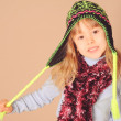 Cute baby girl wearing winter clothes — Stock Photo