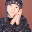 Stock Photo: Boy in winter hat