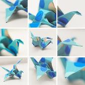 Collage of origami crane — Stock Photo