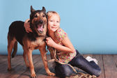 Little girl with shepherd — Stock Photo