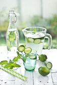 Lemonade lime green cucumber — Stock Photo