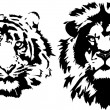 Lion and tiger head — Stock Vector #40063285