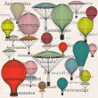 Vintage seamless pattern of hot air balloons and airships  — Stock Vector