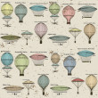 Vintage seamless pattern of hot air balloons and airships — Vector de stock