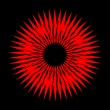 Red sun on black vector image — Stock Vector