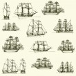 Vector background with old ships — Stock Vector
