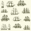 Stock Vector: Vector background with old ships