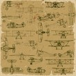 Retro seamless vintage airplanes pattern old paper. — Vetor de Stock  #32058085
