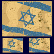 Israel flag with grunge style, retro series. — Imagen vectorial