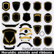 Heraldic shields and ribbons.  — Stok Vektör