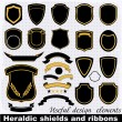 Heraldic shields and ribbons. — Stock Vector