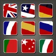 Apps icon vector set, Flags. Smartphone Application Square Buttons — Stockvectorbeeld