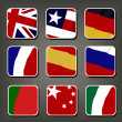Apps icon vector set, Flags. Smartphone Application Square Buttons — Stock Vector