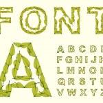 Green Leaves font. — Stock Vector #32058963