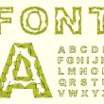 Green Leaves font. — Stock Vector
