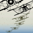 Old biplanes flying in clouds, retro aviation background. — Stok Vektör #32059089