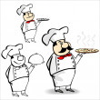 Cartoon cook - chef holds a delicious hot pizza — Imagens vectoriais em stock