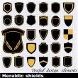 Heraldic shields . Vector Set of retro badges, labels, and design elements. — Stock Vector