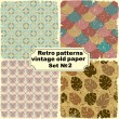 Set. Retro seamless patterns on vintage old paper.  — Stock Vector