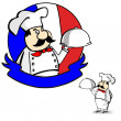 Cartoon French chef banner. — Stock Vector #32059379