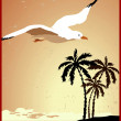 Summer background, poster in retro style with the sea, palm trees and seagulls. — Stock Vector