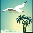Summer background, poster in retro style with the sea, palm trees and seagulls. — Stock Vector #32059549