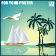 Summer background, poster in retro style with the sea, sailing boat and seagulls. — Stock Vector