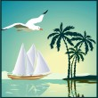 Summer background, poster in retro style with the sea, palm trees and seagulls. — Stock Vector #32059577