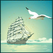 Summer background, poster in retro style with the sea, sailing boat and seagulls — Stock Vector #32059605