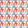 Abstract seamless pattern of stylized American flag, background.  — Stock Vector