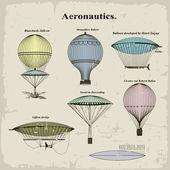 Vector conjunto globos aerostáticos vintage — Vector de stock