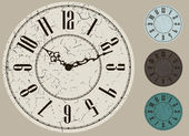 Old clock face vector kit, four color options — Stock Vector