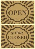 Vintage estaño signo - abiertas y cerradas — Vector de stock