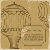 Retro background with hot air balloon — Stock Vector