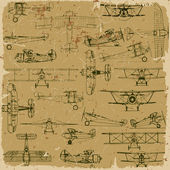Retro seamless vintage airplanes pattern old paper. — Stock Vector