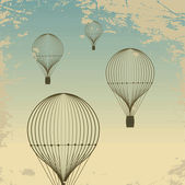 Retro hot air balloon sky background old paper texture. — Vetor de Stock