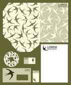 Szablony biznesowe styl, jaskółki ptaków — Wektor stockowy