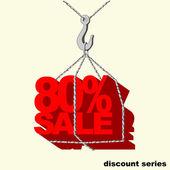 Etiqueta de rojo -80 por ciento venta colgada en el gancho de la grúa. — Vector de stock