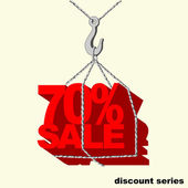 Etiqueta de rojo -70 por ciento venta colgada en el gancho de la grúa. — Vector de stock