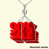 Vinç kancaya asılı kırmızı-90 yüzde satılık etiketi. — Stok Vektör